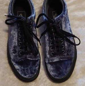 Smoke Blue Grey Velvet Old Skool Vans